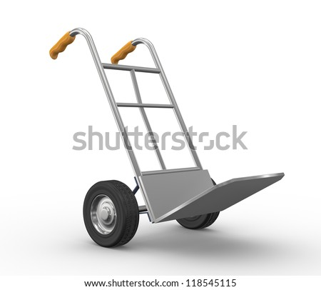3d illustration of hand truck side view