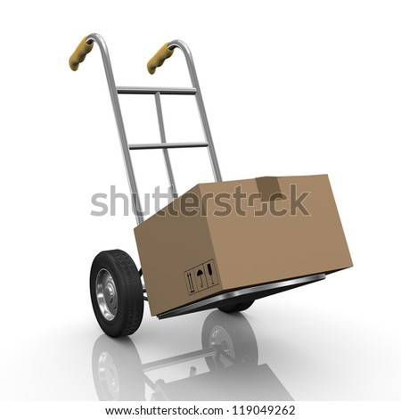 3d illustration of hand truck with cardboard box parcel.