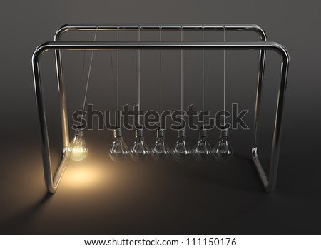 3d illustration of hanging light bulbs in perpetual motion with one glowing light bulb on dark background