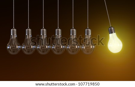 3d illustration of hanging light bulbs in perpetual motion with one glowing light bulb on orange background