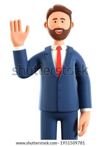3D illustration of happy greeting gesture man waving hand. Cute cartoon smiling businessman saying hello, isolated on white background.