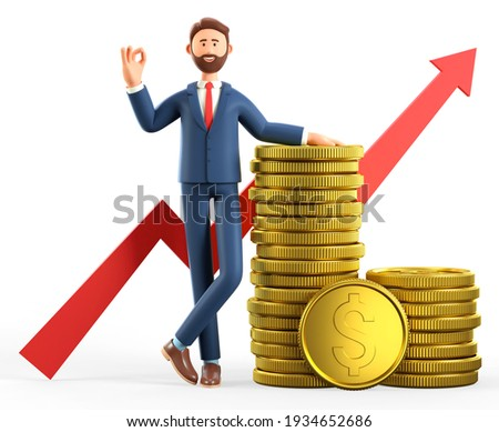 3D illustration of happy man leaning on a stack of gold coins and showing ok gesture. Cartoon standing businessman with okay sign, successful investor. Financial consulting, savings, infographic.