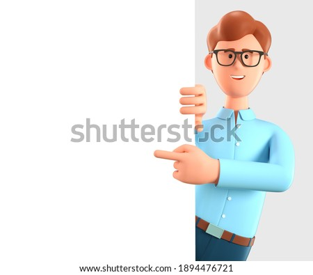 3D illustration of happy man pointing finger at blank presentation or information board. Close up portrait of cute cartoon smiling businessman with advertising placard.