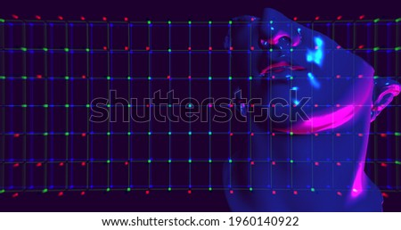 3D illustration of head of statue overlay with defocus effect and glitch noise. Neon colors purple and blue. Concept idea for Arts and blockchain system, the NFT Non-fungible tokens and Arts