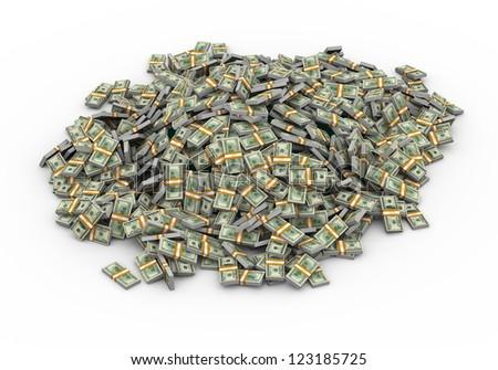 3d illustration of heap of dollar packs money