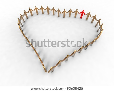 3d illustration of heart represented by a group of people on white background
