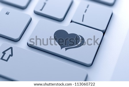 3d illustration of hearts sign button on keyboard with soft focus