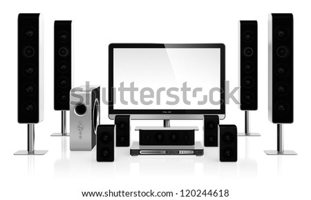 3D illustration of home cinema system isolated on white background