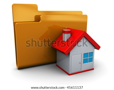 3d illustration of home folder icon or symbol, over white background