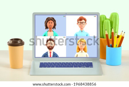 3D illustration of home video call, online work conference concept. Virtual class, team education. Remote meeting, digital business chat. Group of multiethnic people talking by internet, web chatting.