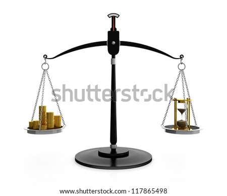 3D illustration of hourglass and gold coins on scales. Time is money concept