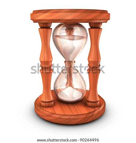 3D illustration of Hourglass with sand
