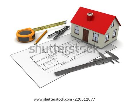 3D illustration of house blueprints and model over white background