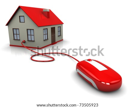 3d illustration of house controlled by computer mouse