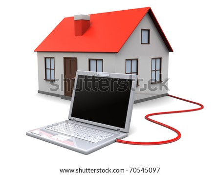 3d illustration of house controlled by laptop computer, smart home concept