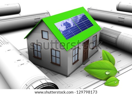 3d illustration of house design with solar panel - stock photo