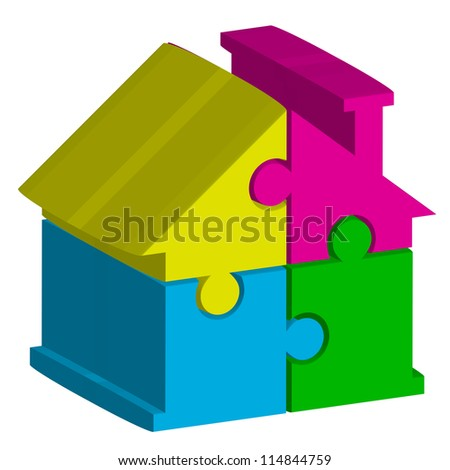 3d illustration of house from puzzles