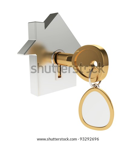 3d illustration of house icon with key isolated on white