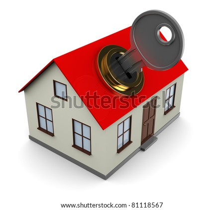 3d illustration of house opening with key, over white background