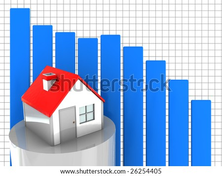 3d illustration of house prices diagram fall down