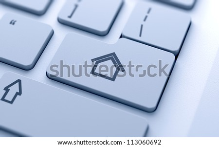 3d illustration of house sign button on keyboard with soft focus