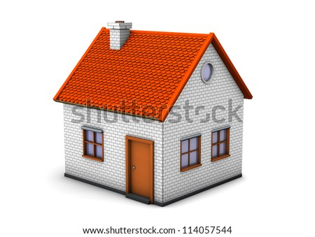 3d illustration of house. White background.