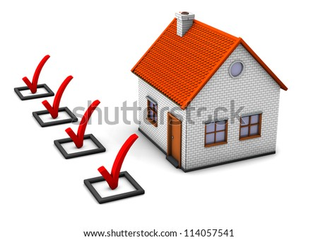 3d illustration of house with ckecklist. White background.