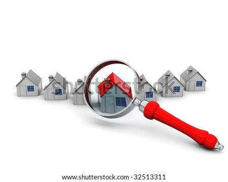 3d illustration of houses and magnify glass over white background