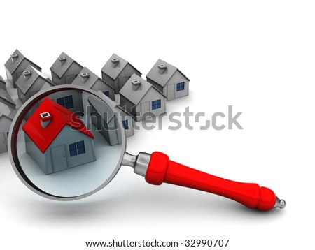 3d illustration of houses and magnify glass, search for home symbol