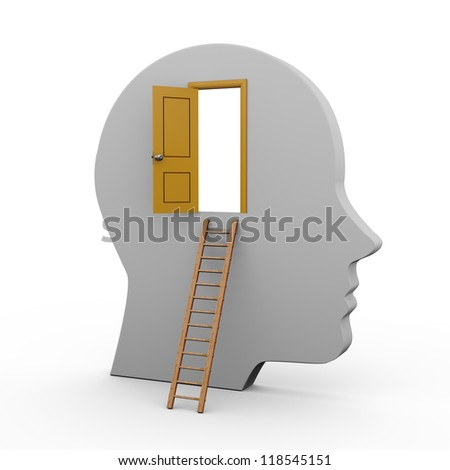 3d illustration of human head with open door and ladder.