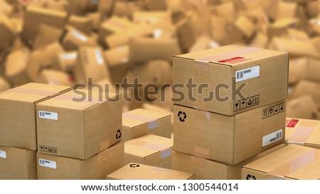 3d illustration of hundreds of cardboard parcels lying on a heap