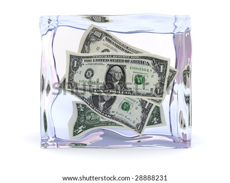 3d illustration of ice cube with dollars inside