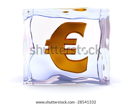 3d illustration of ice cube with euro sign inside