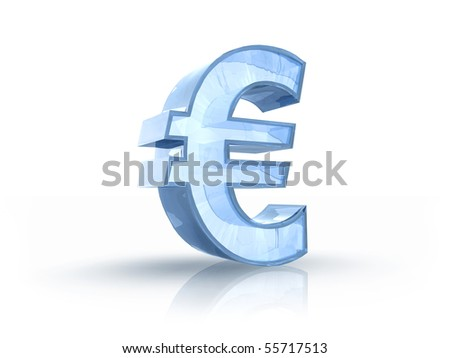 3D illustration of ice euro sign, isolated on white background