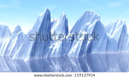 3d illustration of Iceberg at north pole