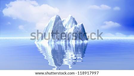 3d illustration of Iceberg in the ocean