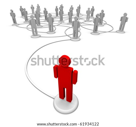 3D Illustration of icon people linked by communication lines