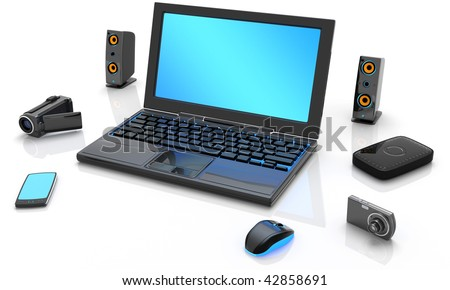 3D illustration of imaginary laptop computer with blue screen surrounded by speakers, camera, mp3 player, hard drive, camcorder and mouse, isolated in white background