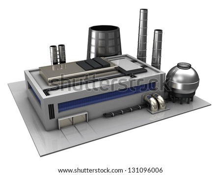 3d illustration of industrial building or factory over white background