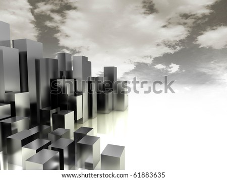 3d illustration of industry city background with gray and yellow colors