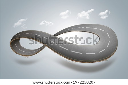 3d illustration of infinity road with clouds or never ending road design advertisement Stock photo ©