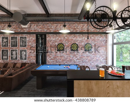 3d Illustration Of Interior Design Loft Style The Concept Commercial Interiors My Room