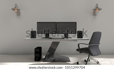 3D illustration of interior design of computer setup