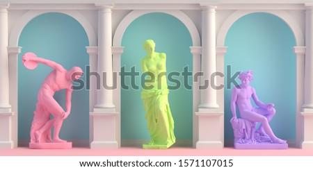 3d-illustration of interior with antique statues Discobolus, Aphrodite, Hermes