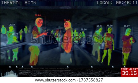 3D illustration of international passengers infrared thermal scan imaging camera on terminal walkway. conceptual security and medical health diagnosis quarantine precaution measuring