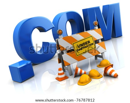 3d illustration of internet site under construction concept