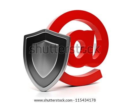 3d illustration of internet technology. Email symbol and shield, e-mail protection