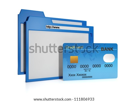 3d illustration of internet technology. payment for purchases over the Internet - stock photo