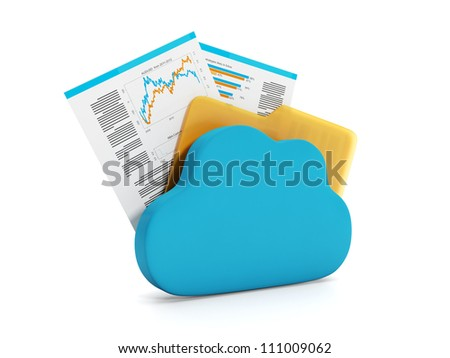 3d illustration of internet technology. Store documents online