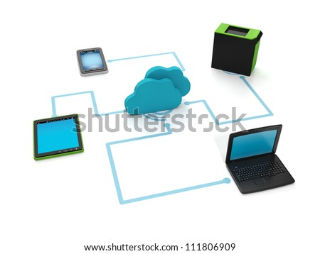 3d illustration of internet technology. Transferring files to all kinds of techniques